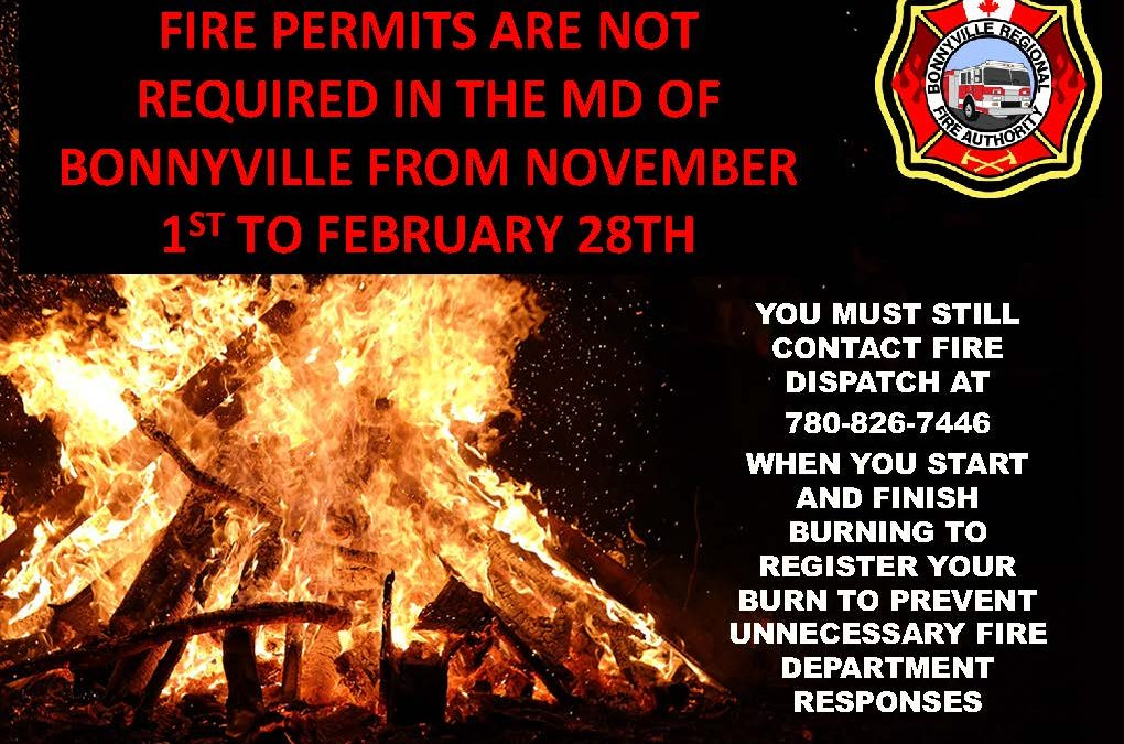 Fire Permits Not Permitted in the MD of Bonnyville from November 1st to February 28th